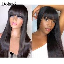 360 peruca frontal com franja, reta frontal, cabelo humano densidade 250 brasileiro falso couro cabeludo dolago, dolago