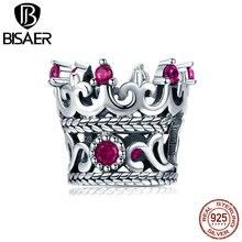 Подвеска в виде короны принцессы BISAER, из стерлингового серебра 925 пробы с Розовыми Фианитами, подходит для изготовления ювелирных изделий