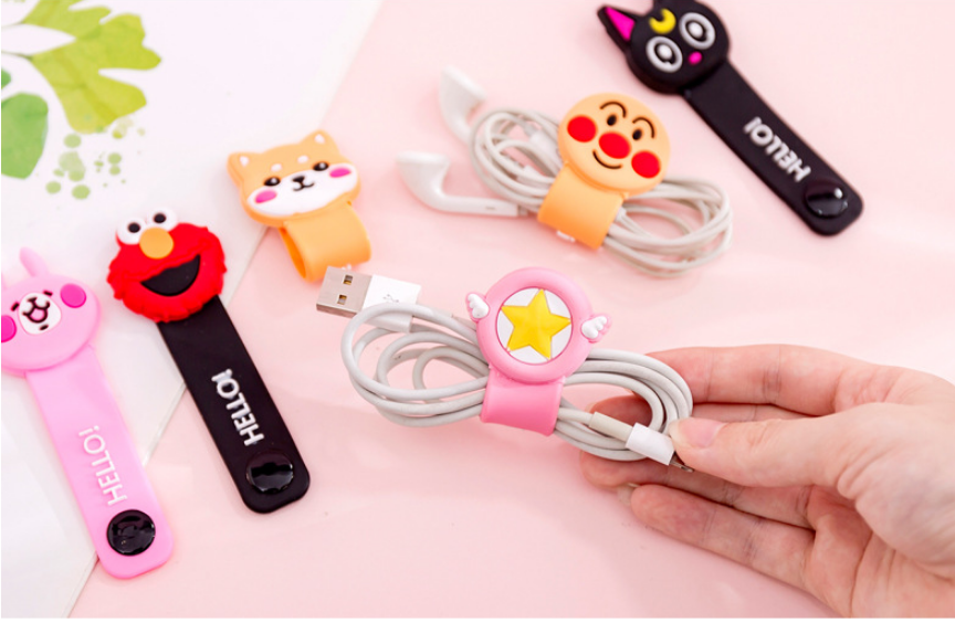 Cartoon Data Line Protector  Silicone Button Cable Winder Cover Mobile Phone USB Charging Headset Headphone Winder