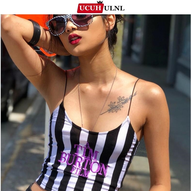 Letter Embroidery Women Sexy Crop Top 2021 Summer Sleeveless Skinny Camis Stripe Camisoles Tim Burton Woman Clothes
