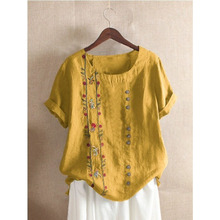 DIOROBBEN 5XL Bohemia clothing Summer Embroidery Casual Women Shirts 2020 summer