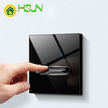 86mm Luxury Light Switch General Standard Crystal Tempered Glass 1 2 3 4 Gang Switch Black Power Push Botton Switch USB Socket