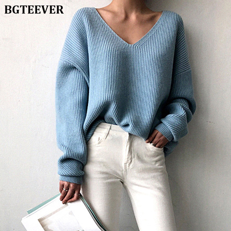 Casual V-neck Loose Women Sweaters  Chic Knitted Tops Outerwear Pullovers Irregular Hem Female Winter Warm Jumpers 2019 Autumn