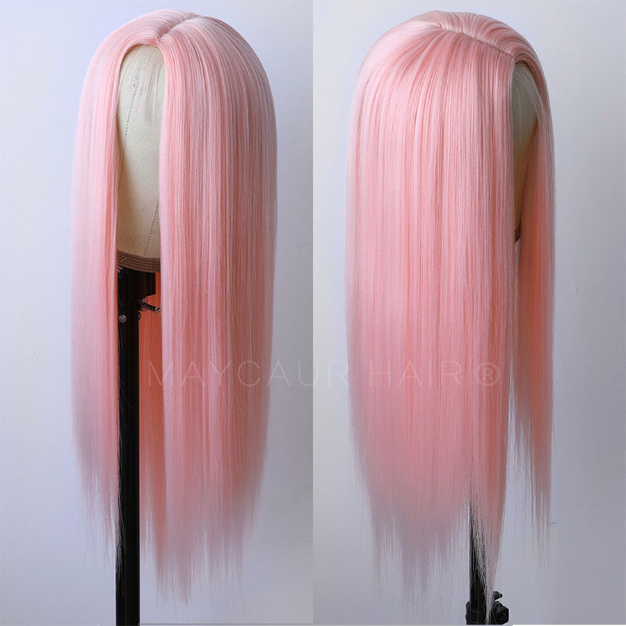 Maycaur Pink Synthetic Hair Wigs with Natural Baby Hair Long Straight Women's Wig Heat Resistant Synthetic Wigs for Women