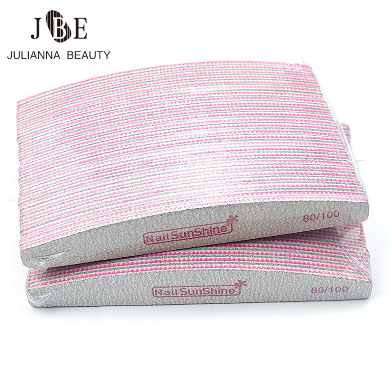 50 pcs branco prego arquivo barco rosa lixa prego buffer 80 100 lavavel manicure bloco uv