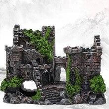 Искусственный аквариум из смолы, украшение для древнего замка, украшение для аквариума, каменной пещеры, украшение для строительства, украшение для водного ландшафтного дизайна