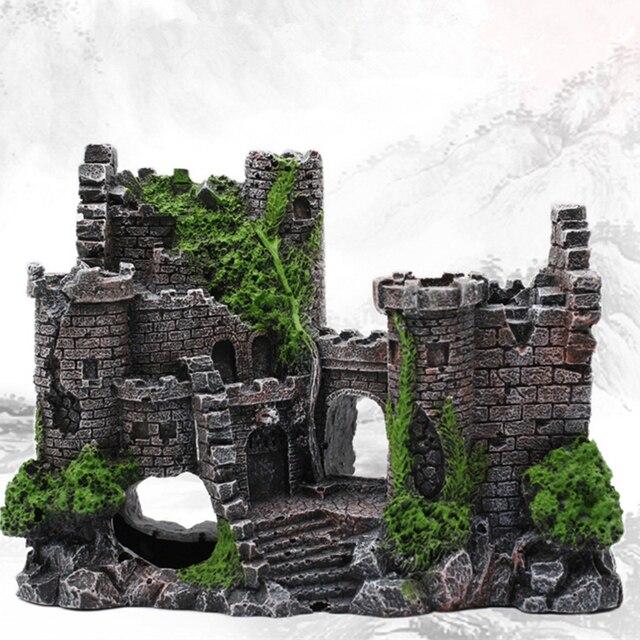 新しい樹脂人工魚タンク古代城の装飾水族館ロック洞窟建築装飾水生造園飾り