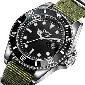 Image 2 - Homme analogique montre à Quartz Canlander hommes montre bracelet en Nylon luxe décontracté affaires horloge vert