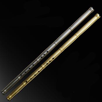 Mosiądz tytanowy metalowy flet Xiao nie dizi bambusowy styk wzór krótki Xiao flet funda flauta instrumenty muzyczne profesional Xiao tanie i dobre opinie SevenAngel