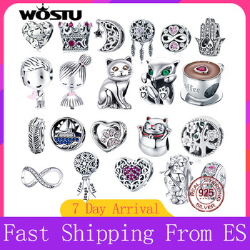 WOSTU Real 925 Sterling Silver Beads Retro Patterns Charms Pendant Fit Original Bracelet Jewelry