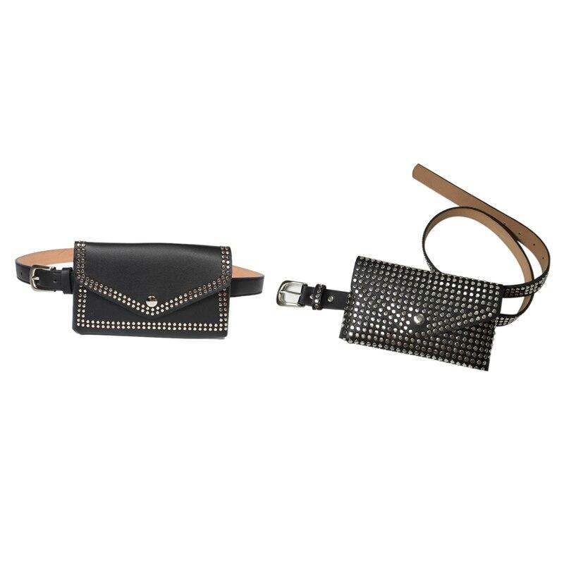 2 Pcs Fashion Rivets Waist Pack Luxury Designer Fanny Pack Small Women Waist Bag Phone Pouch Punk Belt Bag Purse(Black)