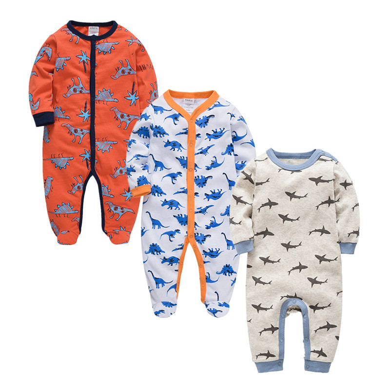 Image 2 - 2019 Autumn Winter 3pcs Baby Boy roupa de bebes Newborn Jumpsuit Long Sleeve Cotton Pajamas 3 6 9 12 Months Rompers Baby Clothes-in Rompers from Mother & Kids