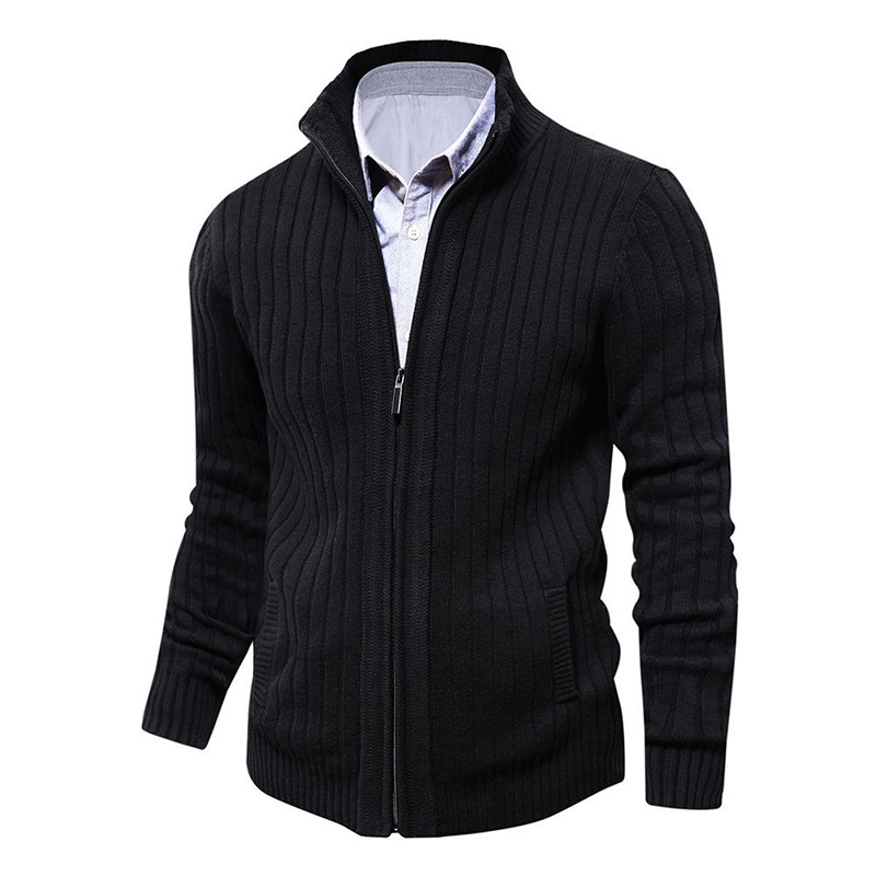 2020 Men Mandarin Collar Cotton Cardigan Zipper Pocket Solid Slim Fit Autumn Winter Thick Coats Knitted Casual Male Sweater Pull