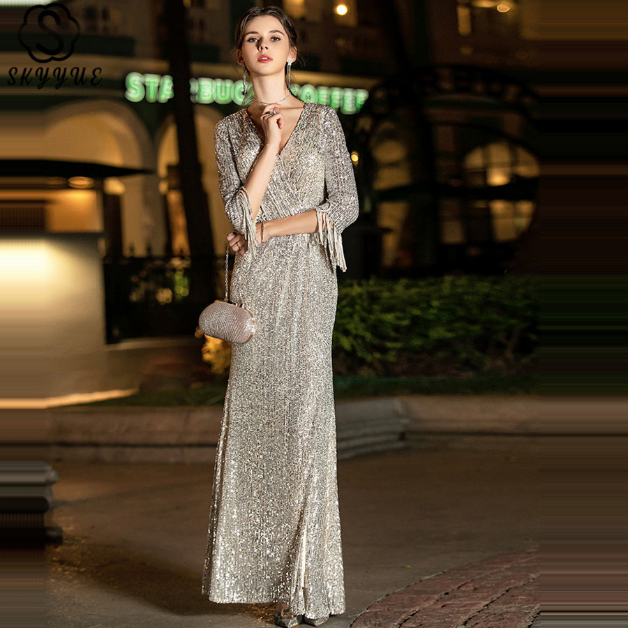 Skyyue Sequins Formal Gown Silver V-Neck Robe De Soiree K019 Long Plus Size Women Party Dresses 2019 Long Sleeves Evening Dress
