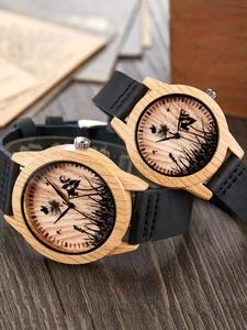 Clock Watches Couple Wrist Quartz Brown Bamboo Minimalist Creative Men Women Reloj Wooden