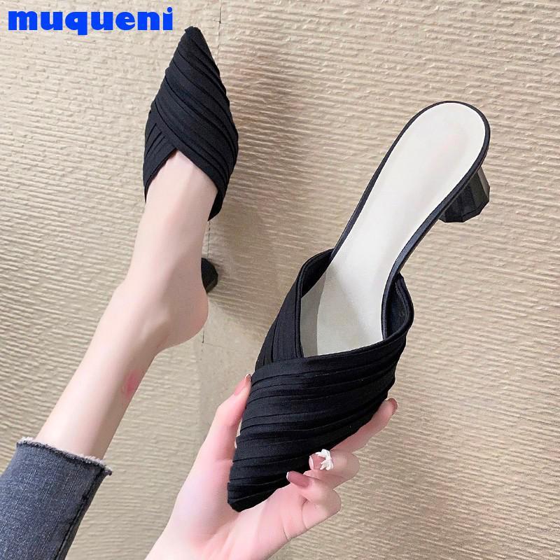 2021 High Heels Sandals Women Shoes Pointed Toe Ladies Female Slides Platform Pumps Fashion Mules