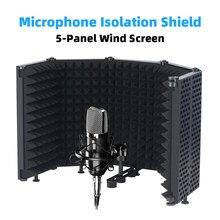 Isolamento de microfone escudo 5-painel de tela de vento para gravação estúdio dobrável de alta densidade absorvente esponja espuma