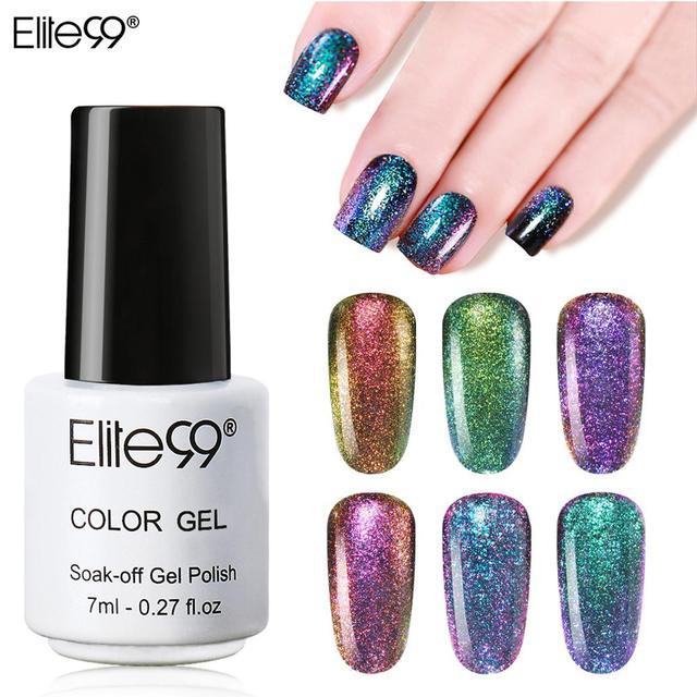 Elite99 7ml Chameleon Gel Polnischen Schwarz Basierend Nagel Lacke Weg Tränken UV Gel Nägel Polieren Bling Chameleon Wirkung 6 farben