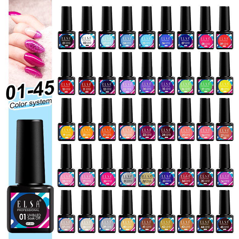 Elsa 45colour 8ml Nail Rubber Base Coat Semi Permanant UV Gel Varnishes Primer for Nails Matte Top Coat Nail Art Base Top Gellak