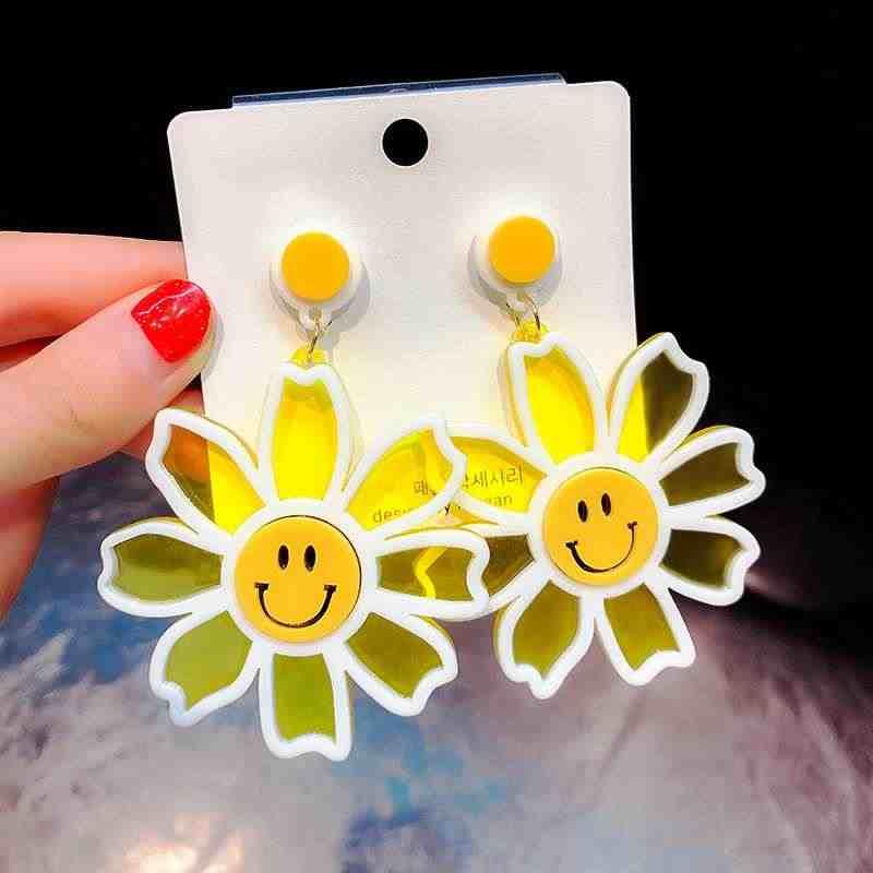 EK414 koreański styl osobowość kryształ akrylowe kwiaty spadek kolczyki dla kobiet geometryczne dynda kolczyk kochanka słodki słodki prezent