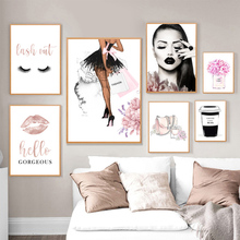 Fashion Poster Pink Perfume Bottle Lips Makeup Canvas Print Painting Modern Vogue Wall Art Pictures For Living Room Home Decor