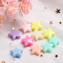 10Pcs 9/13mm Star Shape Teething Beads Colorful Acrylic Beads Teether Accessories DIY Baby Molar Toy Pacifier Chain Necklace(China)