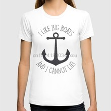 Printed Men T Shirt Cotton tShirt O-Neck Short-Sleeve Women T-Shirt I Like Big Boats And I Cannot Lie!(China)