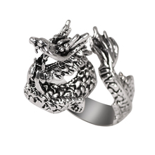 Personality Domineering Men's Ring Retro Opening Adjustable Inlaid Animal Dragon Shape Index Finger Alloy Jewelry Gift 2020