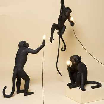 Macaco preto moderno lâmpada resina corda de cânhamo macaco branco sala estar luzes do macaco em animal pingente luzes lâmpada pendurada e27
