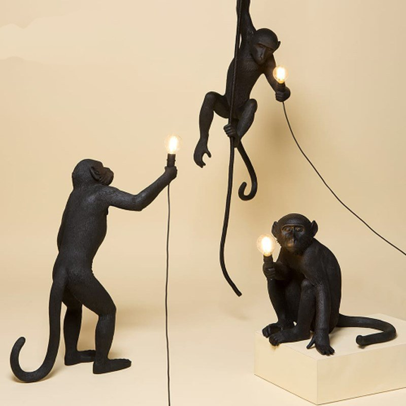 Modern Black Monkey Lamp Resin Hemp Rope Monkey Lamp White Living Room Monkey Lights In Animal Pendant Lights Hanging Lamp E27