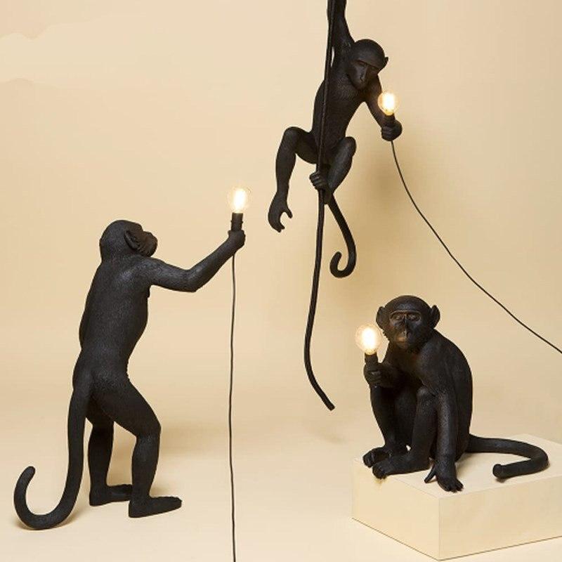 Moderne noir singe lampe résine chanvre corde singe lampe blanc salon singe lumières en animal pendentif lumières suspension lampe E27