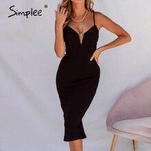 Basit seksi v yaka bodycon elbise Slim fit yüksek bel kolsuz kadın parti elbise zarif bayanlar kılıf yaz parti elbise