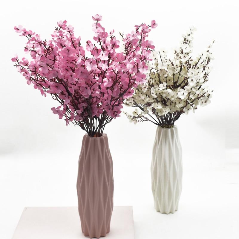 Rosa Seide Gypsophila Künstliche Blumen Kleinen Bündeln 5 Gabeln 30CM Wohnzimmer Dekoration Gefälschte Pflanzen Vase für Home Hochzeit