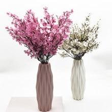 Różowy jedwab łyszczec sztuczne małe kwiaty bukiety 5 widelców 30CM dekoracja salonu sztuczne rośliny wazon na ślub domu