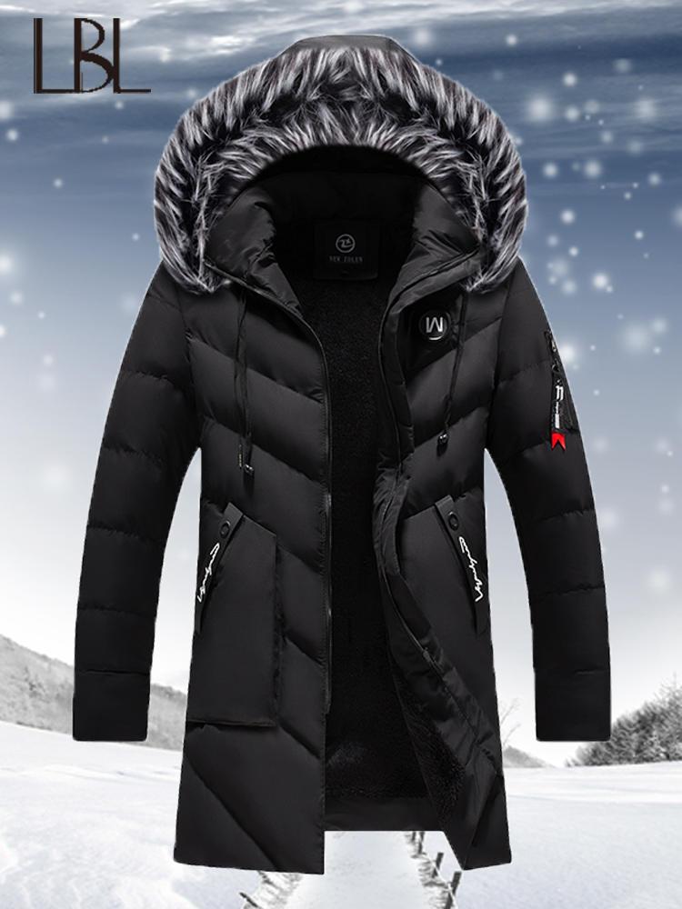 Winter Jacket Coats Parkas Windbreaker Hooded Fleece Fashion Mens Fur Cotton Man Solid