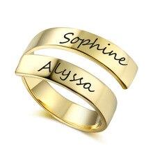 Персонализированные из нержавеющей стали регулируемый кольца для женщины золото цвет Custom 2 имена выгравированы простой обещание кольцо ювелирных изделий подарки