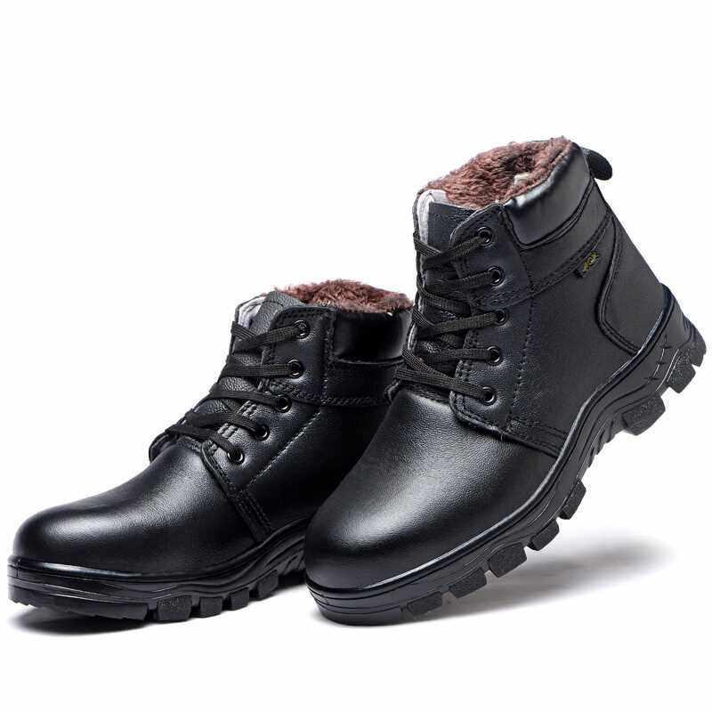 Echt Leder Stiefel Männer Stahl Kappe Arbeit Stiefel Herren Winter Schnee Stiefel Männer Warme Antismashi Wasserdicht Schwarz Sicherheit Schuhe Frauen 36-46