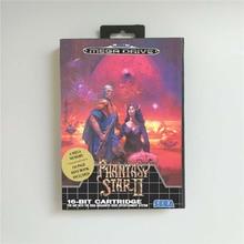 Phantasy Star השני 2   EUR כיסוי עם תיבה הקמעונאי 16 קצת MD משחק כרטיס עבור Megadrive בראשית וידאו משחק קונסולת סוללה לחסוך