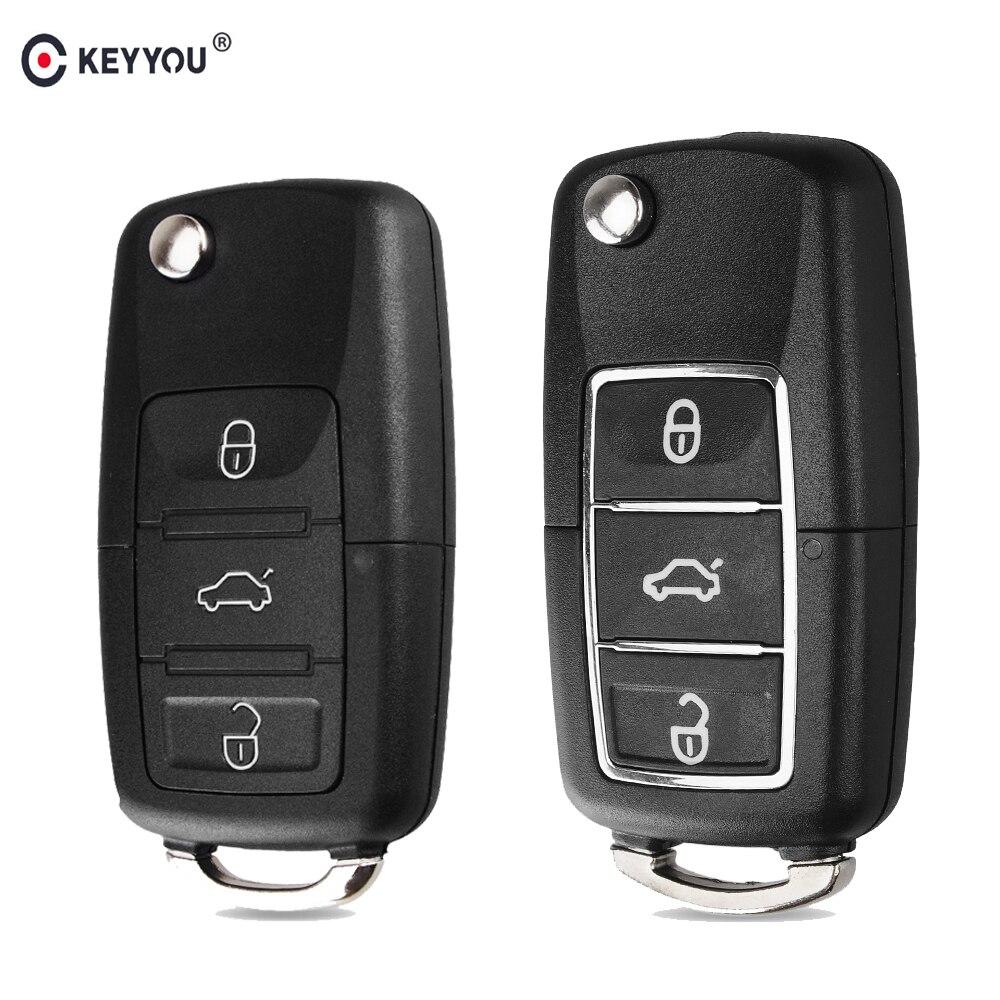 Складной автомобильный брелок-чехол KEYYOU для Volkswagen Vw Jetta Golf Passat Beetle Polo Bora 3 кнопки дистанционный брелок-Чехол