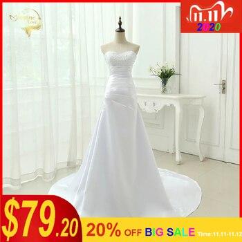 Tamanho Mais barato Vestido de Noiva 2017 Frisada Corpete Sem Alças Uma Linha cetim Vestidos de Noiva Vestido De Noiva New Robe De Mariage OW1019