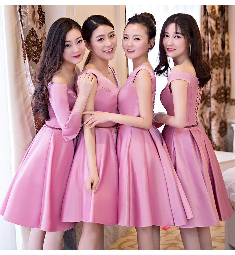 Burgundy Bridesmaid Dresses Short Pink Elegant Women Guest Wedding Party A-Line Junior Taffeta Above The Knee Sexy Bridal Prom