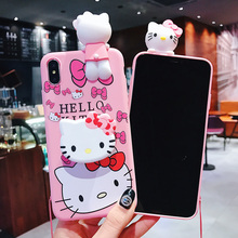 Luxury 3D cute cartoon cat holder stand Pink silicone phone case for