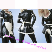 Sexy Latex Rubber Uniform Cosplay Maid Costumes Dress for Club Party Wear halloween costumes for women sexy no gloves&pants
