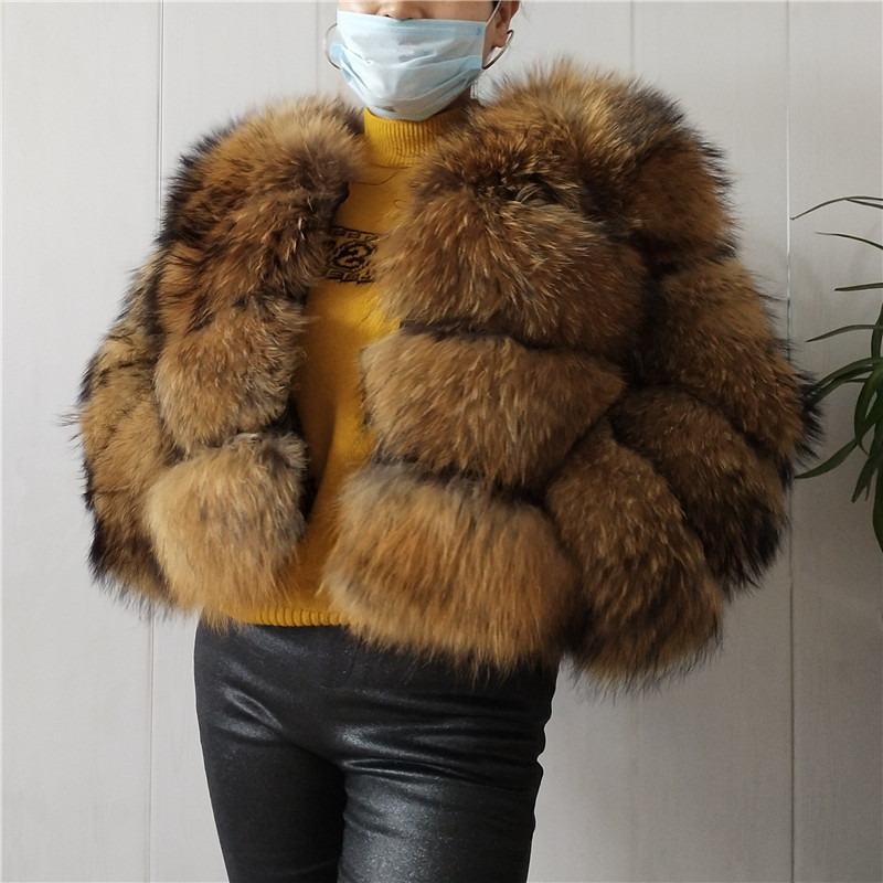 BEIZIRUReal Fur Natural Raccoon Fur Silver Fox Fur Winter Women Coat Detachable Sleeve Height 50 Cm Sleeve 55cm