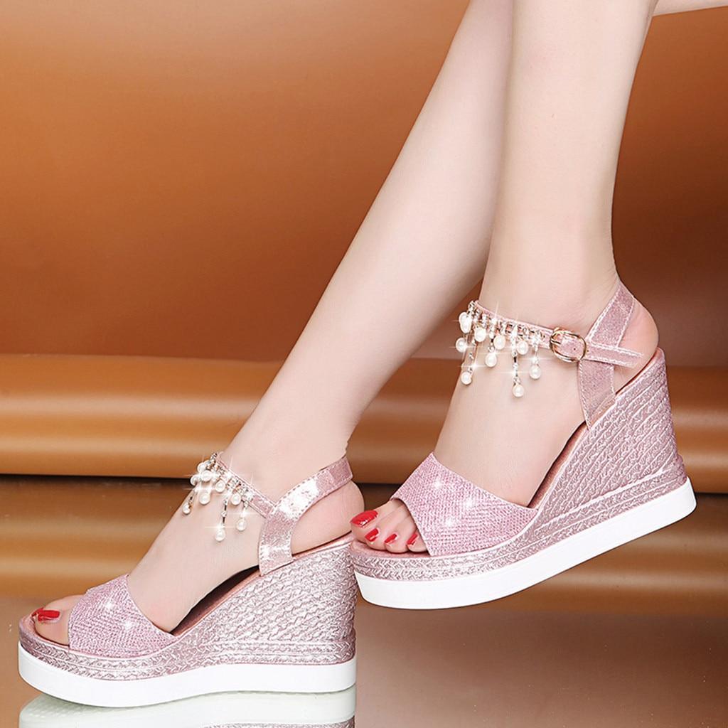 Women Wedge Sandals Thick-Bottom Shoes Buckle-Strap Platform Crystal-Bead Peep-Toe Fashion