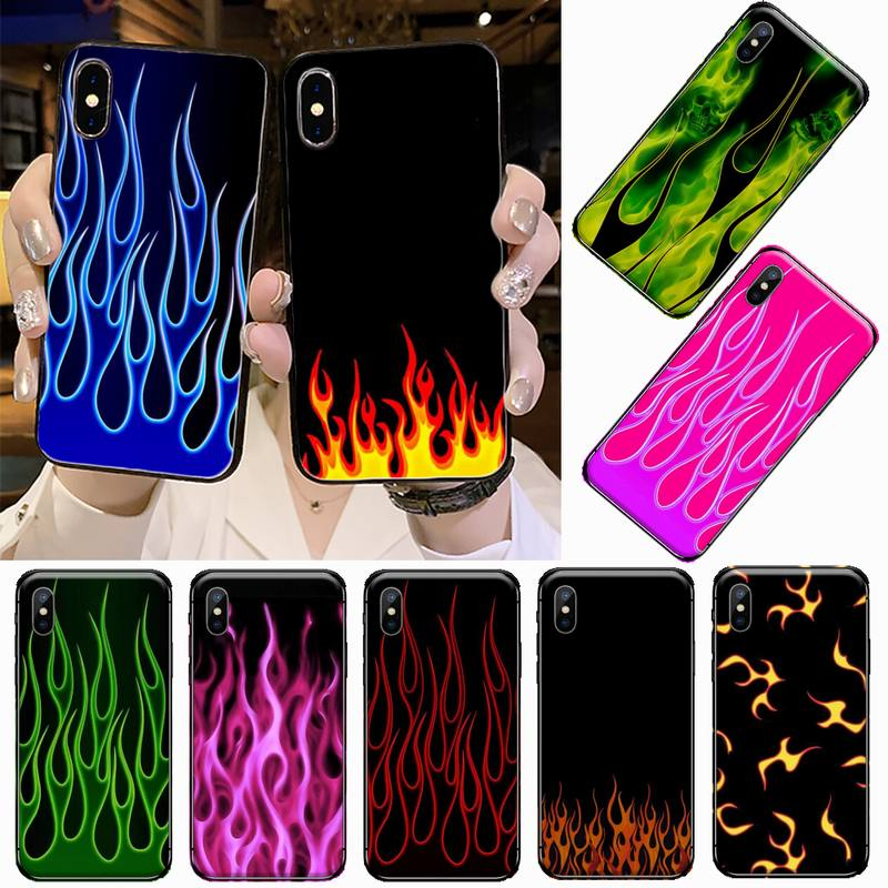 Blue Flame Fire Print Phone Case for iPhone 11 12 pro XS MAX 8 7 6 6S Plus X 5S SE 2020 XR