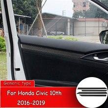 yaquicka 8pcs carbon fiber style car exterior door handle grab cover bezel trim styling for honda civic 10th 2016 2017 rhd 4pcs Car styling Carbon Fiber Sticker for Honda Civic 10th 2016-2019 Car Interior Door frame Cover Trim Cover Sticker