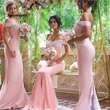 Розовый кружева аппликация Сексуальная 2020 новый Русалка длинные платья невесты фрейлина для свадьбы со шлейфом плюс размер