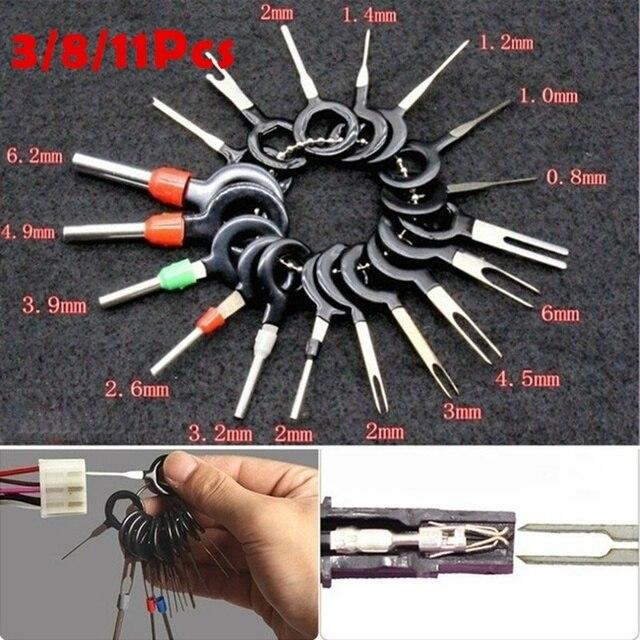 자동차 플러그 자동차 터미널 제거 도구 세트 키 자동차 전기 와이어 크림프 커넥터 핀 추출기 키트 액세서리 스틸