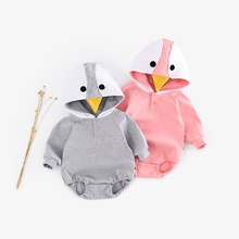 2019 Cartoon Penguin Long-sleeved One-piece Dress Baby Nursing Belly Triangle Bodysuits